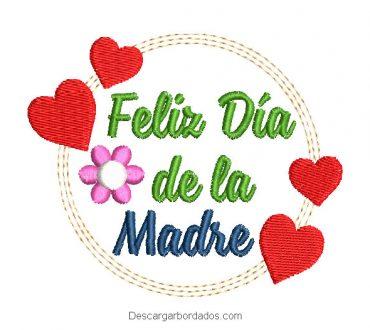 Diseño Bordado Feliz Día de la Madre con Corazón