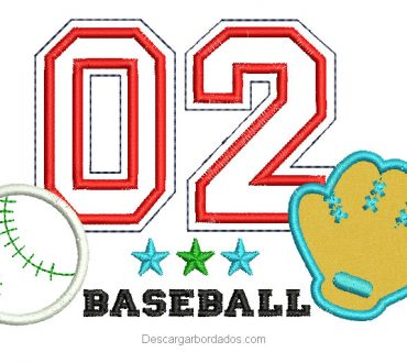 Diseño Bordado de Béisbol con Aplicación