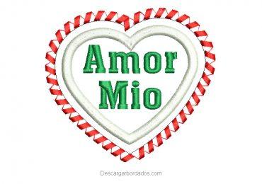 Diseño Bordado de Corazón Amor Mio