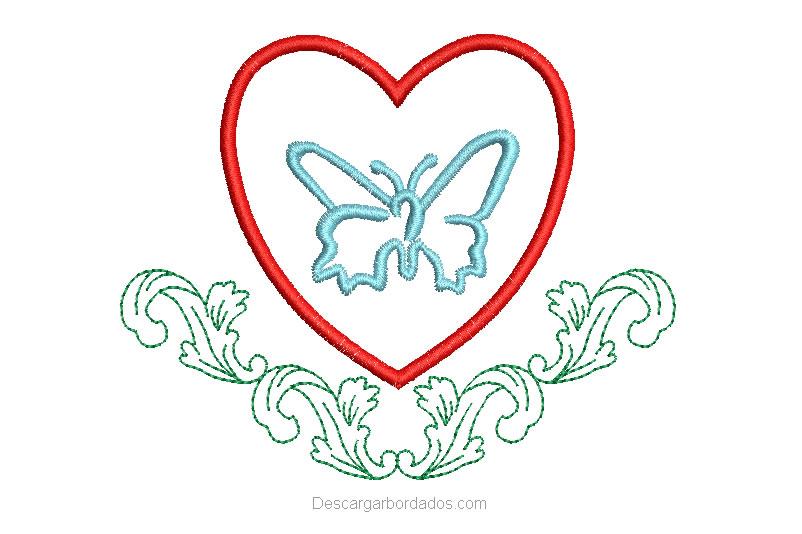 Diseño Bordado de Corazón con Mariposa