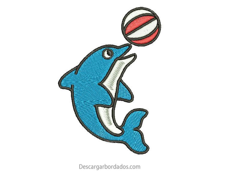 Diseño Bordado de Delfín con Pelota