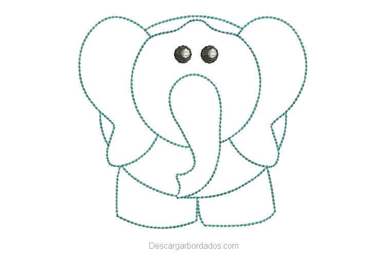 Diseño Bordado de Elefante Delineado