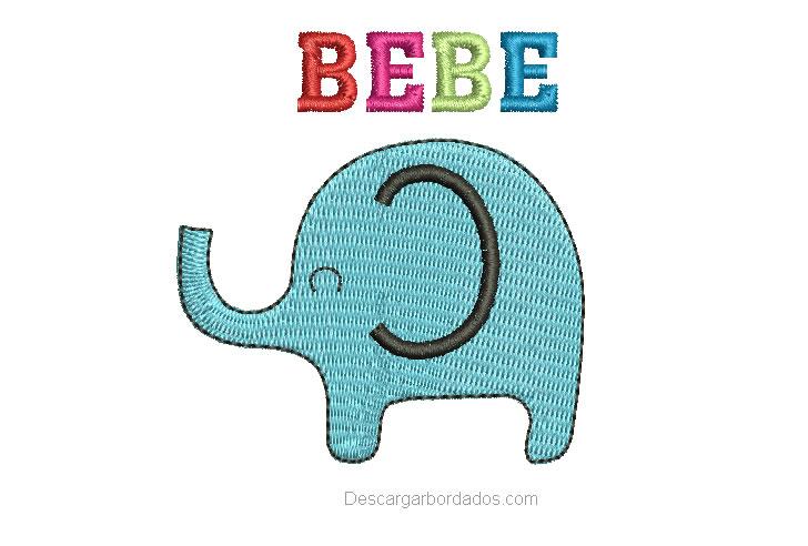 Diseño Bordado de Elefante para bebe