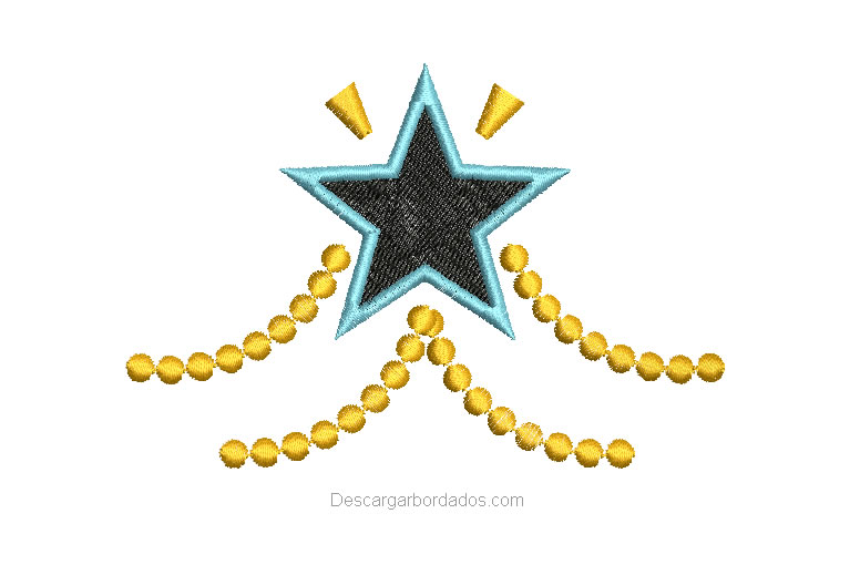 Diseño Bordado de Estrella con decoración