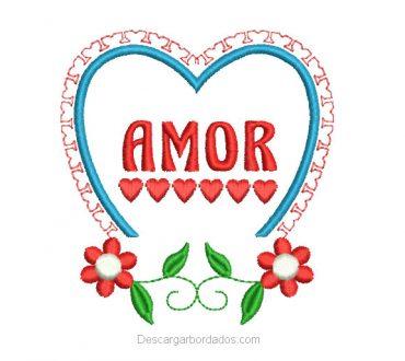 Diseño Bordado de Flores con Corazón