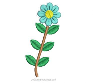 Diseño Bordado de Hojas con Flores