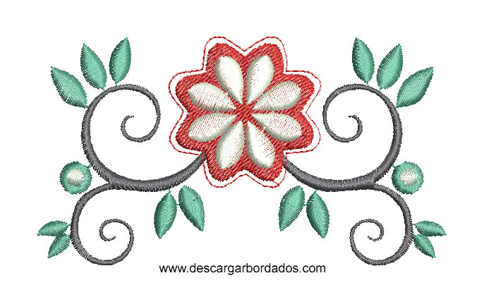 Lindo Diseno Bordado De Hojas De Flores Descargar Disenos Bordados