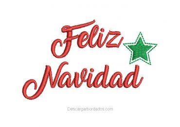 Diseño Bordado de Letra Feliz Navidad