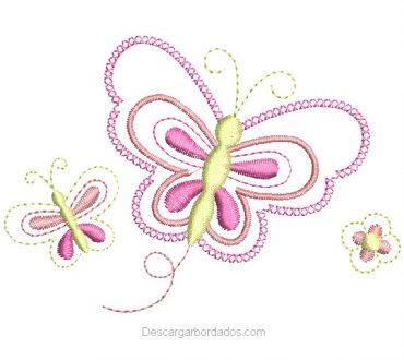 Bordado de mariposas con decoración