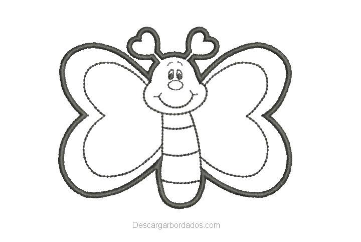 Diseño Bordado de Mariposa Delineado