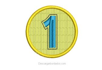 Bordado de Medalla Número 1 para Bordar