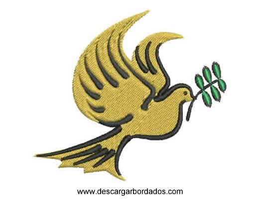 Diseño Bordado de Paloma de Paz