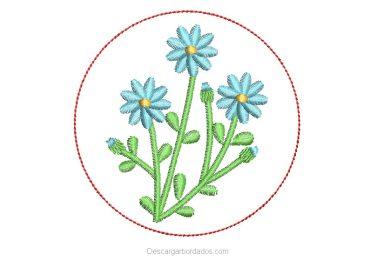 Diseño Bordado de Plantas con Flores