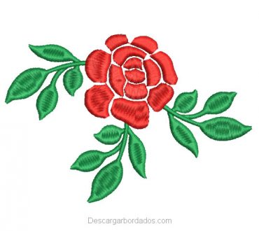 Descargar Diseño Bordado de Rosas con Hojas