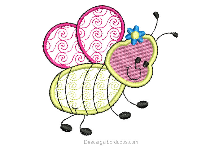 Diseño Bordado de abeja volando