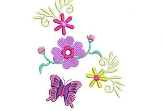 Bordados de Flores con Mariposa para Bordar