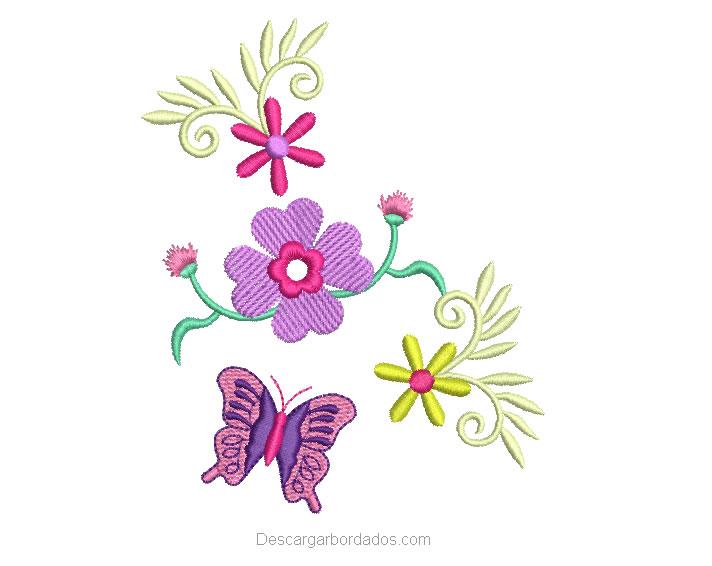 Diseño Bordado de flores y Mariposa