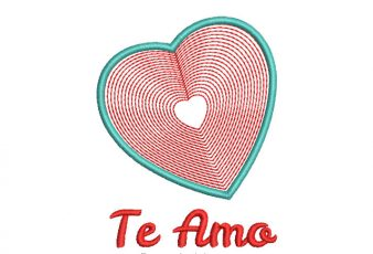 Bordado de Corazón con Frase te Amo Gratis