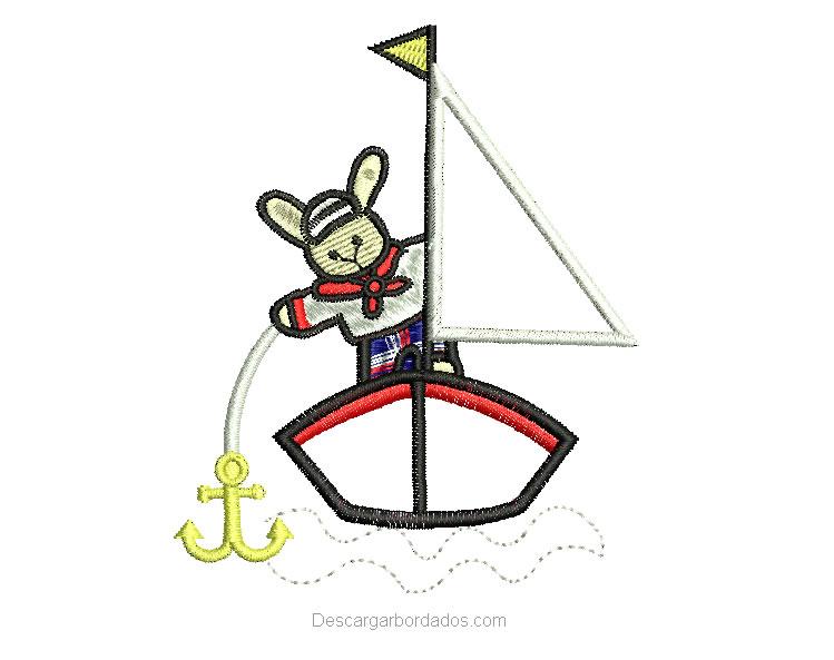 Diseño Bordado de osito en bote