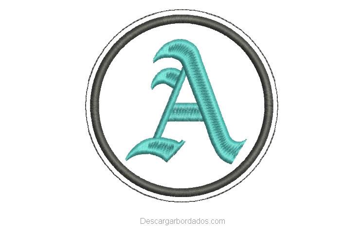 Diseño Bordado letra A en Fuente Gótica