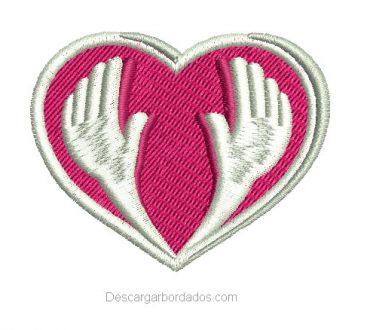 Bordado Corazón en Formato Pes, Dst y Jef