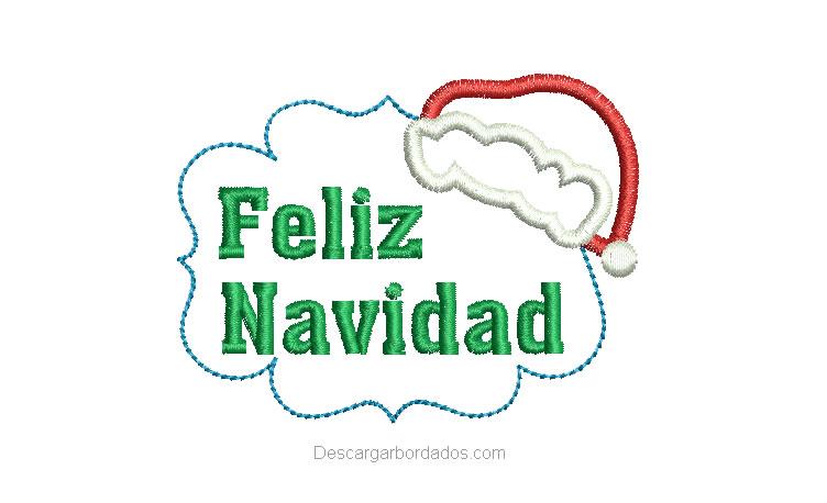 Diseño Bordados de Feliz Navidad letras