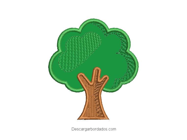 Diseño bordado árbol con aplicación