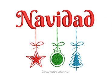 Diseño bordado Letra de Navidad con estrella y campana