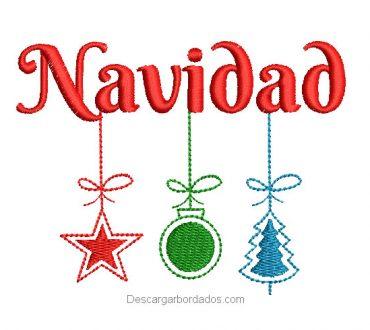Diseño bordado letra de navidad con decoración