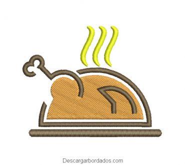 Diseño bordado asado pollo para maquina