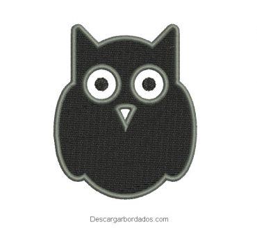 Diseño bordado búho negro para bordar