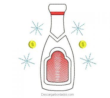 Diseño bordado botella de año nuevo
