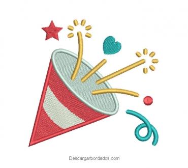 Diseño bordado cono de cumpleaños para bordar
