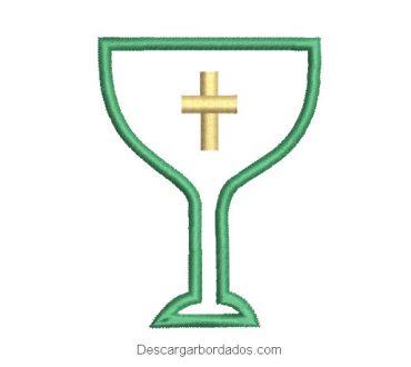 Descargar diseño bordado copa caliz de iglesia