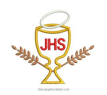 Diseño bordado copa de jhs con espiga