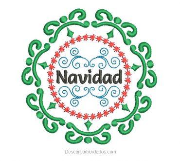 Diseño bordado de corona con letra de Navidad