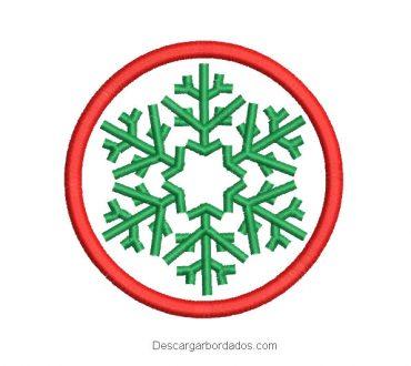 Diseño bordado corona de navidad