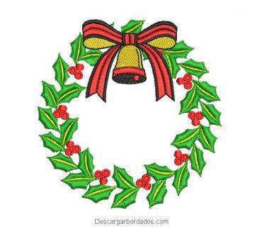 Diseño bordado corona de navidad para bordar