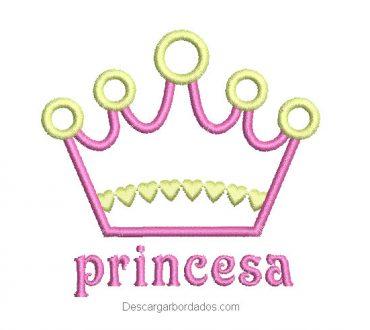 Diseño bordado corona de princesa