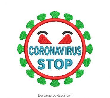 Diseño bordado coronavirus stop