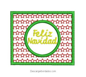 Diseño bordado cuadro de feliz navidad
