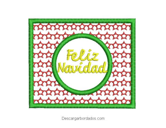 Diseño bordado cuadro de Feliz Navidad para bordado