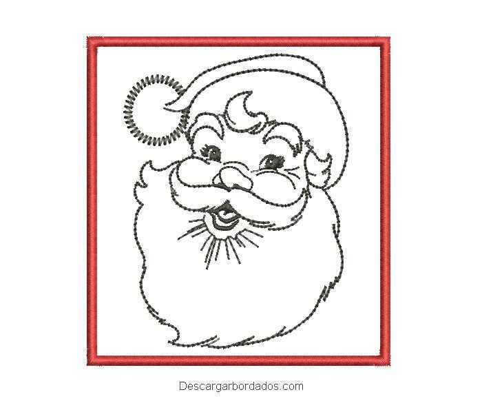 Diseño bordado cuadro de papa noel