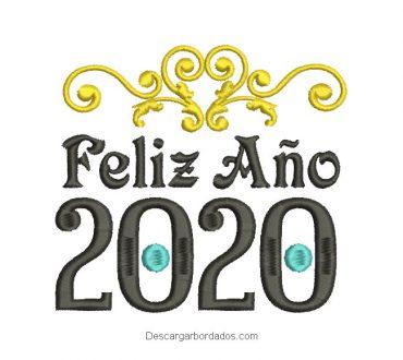 Diseño bordado de Feliz Año 2020
