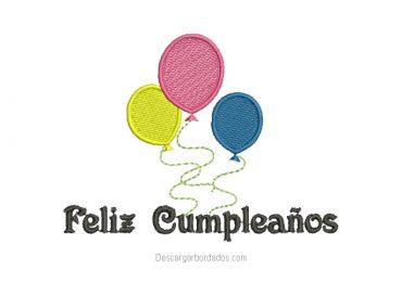 Diseño bordado de Feliz Cumpleaños con Globo