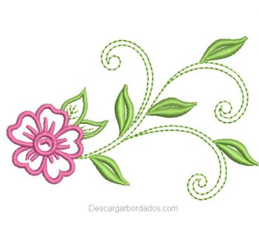 Diseño bordado de Flores con Rama