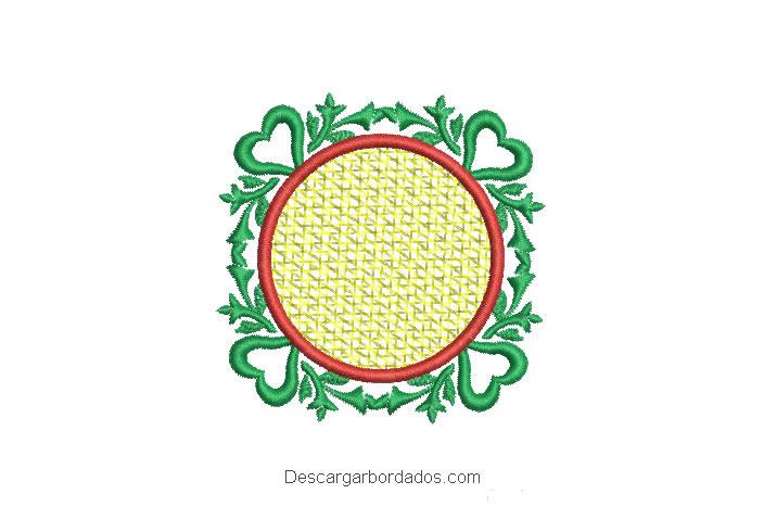 Diseño bordado de adorno navideño