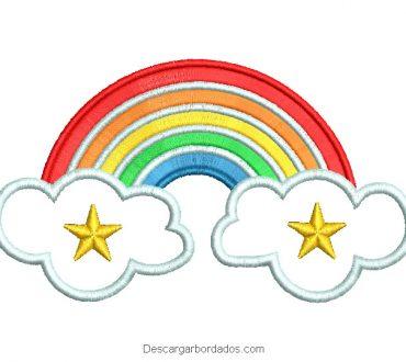Diseño bordado de arco Iris con nube