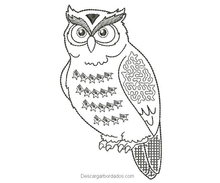 Diseño bordado de búho para bordar