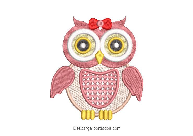Diseño bordado de búho rosado